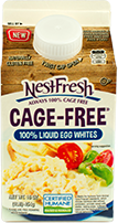 A 16-ounce gable top carton of NestFresh Cage-Free 100% Liquid Egg Whites. Certified Humane.