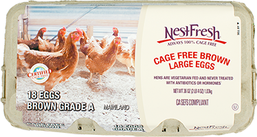 A carton of Grade A NestFresh Cage Free Brown Large Eggs. 18 Certified Cage Free eggs.