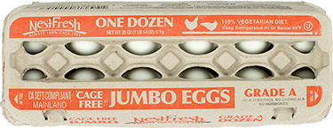 A carton of one dozen, Grade A NestFresh Cage Free Jumbo Eggs. Always 100% Cage Free from hens who feed on a 100% vegetarian diet.