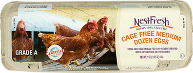 A carton of Grade A NestFresh Cage Free Medium Dozen Eggs. Certified Cage Free.