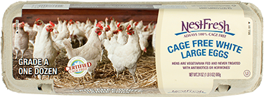 A carton of one dozen, Grade A NestFresh Cage Free White Large Eggs. Certified Cage Free.