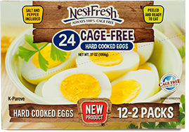 Box of 24 NestFresh Cage-Free Hard Cooked Eggs. Twelve 2-packs. Certified Cage Free.