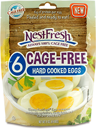 Resealable bag of six NestFresh Cage-Free Hard Cooked Eggs. Certified Cage Free, peeled and ready to eat.