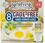 Box of eight NestFresh Cage-Free Hard Cooked Eggs. Certified Cage Free. Four separately sealed 2-packs for maximum freshness.