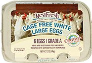 A carton of six Grade A NestFresh Cage Free White Large Eggs. Certified Cage Free.