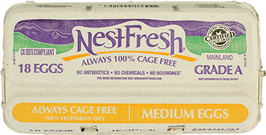 A carton of 18 Grade A NestFresh Always Cage Free Medium Eggs. Certified Cage Free. From hens fed a 100% vegetarian diet.