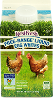 A 16-ouce gable top carton of NestFresh Free-Range Liquid Egg Whites. Non-GMO Project Verified. Always 100% cage free.