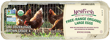A carton of one dozen, brown, Grade A NestFresh Free Range Organic Large Eggs. Non-GMO Project Verified, USDA Organic and Certified Humane.