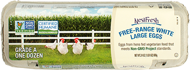 A carton of one dozen Grade A NestFresh Free-Range White Large Eggs. Non-GMO Project Verified and Certified Humane.