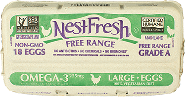 A carton of 18 Grade A NestFresh Free Range Omega-3 Large Eggs. Non-GMO Project Verified, Certified Humane. From hens fed a 100% vegetarian diet.