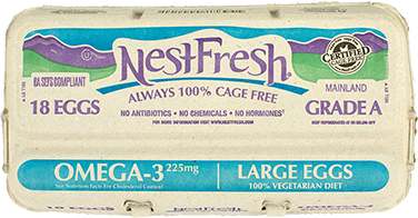 A carton of 18 Grade A NestFresh Omega-3 Large Eggs. From hens fed a 100% vegetarian diet. Certified Cage Free.