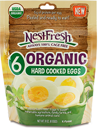 Resealable bag of six NestFresh Organic Hard Cooked Eggs. USDA Organic, peeled and ready to eat. Always 100% cage free.