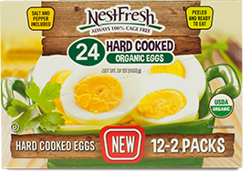 Box of 24 NestFresh Hard Cooked Organic Eggs. Twelve 2-packs. USDA Organic. Always 100% cage free.