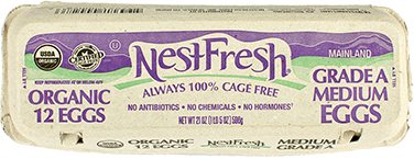 A carton of one dozen, Grade A, medium NestFresh Organic Eggs. USDA Organic and Certified Humane. No antibiotics, no chemicals and no hormones.