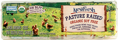 A carton of one dozen, Grade A, large, brown NestFresh Pasture Raised Organic Soy Free Eggs. USDA Organic and Certified Humane. 108 square feet of grass, fresh air and sunshine per hen.