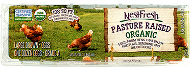 A carton of one dozen, large, brown, Grade A NestFresh Pasture Raised Organic Eggs. USDA Organic and Certified Humane. 108 square feet of grass, fresh air and sunshine per bird.