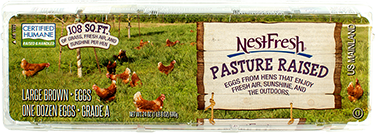 A carton of one dozen large, brown NestFresh Pasture Raised Eggs. Certified Humane. 108 square feet of grass, fresh air and sunshine per hen.