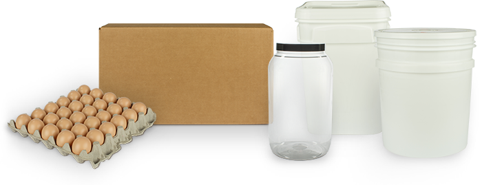 Image of wholesale packaging options including glass jars, cardboard boxes of gable cartons, plastic pales, plastic totes, and 15 dozen flats.