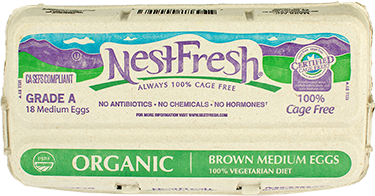 A carton of 18 Grade A NestFresh Organic Brown Medium Eggs. From hens fed a 100% vegetarian diet. Certified Cage Free.