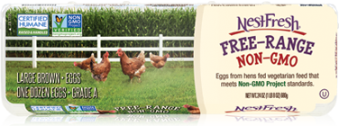 Carton of one dozen Grade A NestFresh Free-Range Brown Large Eggs. Non-GMO Project Verified and Certified Humane.