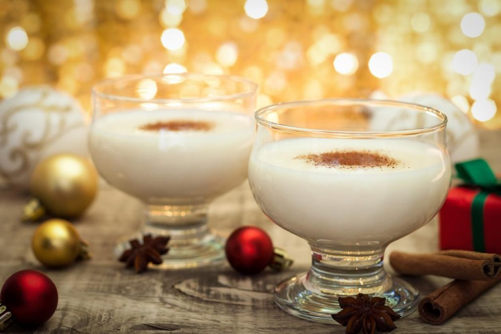 fresh eggnog with cinnamon sticks for the holidays